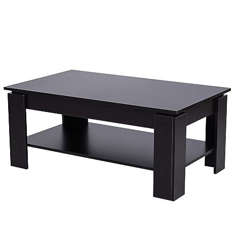 homcom Tavolino da caffè da Salotto Soggiorno Moderno in Legno di Design  Portata 60kg 110x65x47cm Nero