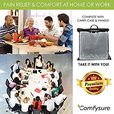 ComfySure Car Seat Wedge Pillow - Memory Foam Firm Cushion - Orthopedic Support and Pain Relief for Lower Back, Tailbone, Coccyx and Hips for Driving, Office Chairs and More: Home & Kitchen