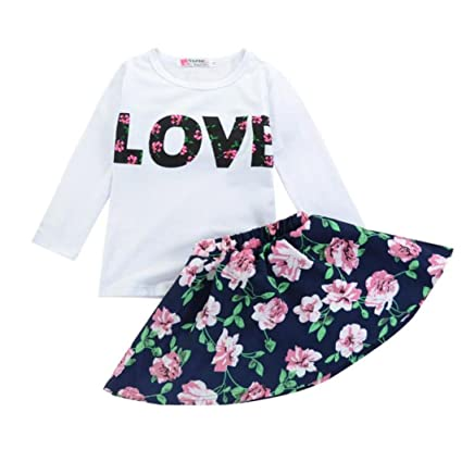 05c582b800a1e Amazon.com: HOT Sale!! 2-7 Years Old Girls Love Letters Printed Vest Floral  Dress,Ankola Two Pieces Set Clothes Children Skirt Suit (Navy, 5-6Y):  Musical ...