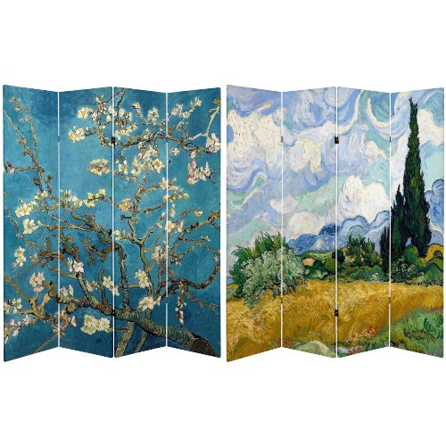 Oriental Furniture 6 ft. Tall Double Sided Works of Van Gogh Canvas Room Divider - Almond Blossoms/Wheat Field (Screen Oriental Dividers)