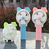 guangtongCreative Mini Fan Folding Handheld Fan USB Charger Small Fan Long Ear Hand Holding Small Fan (Random Color)