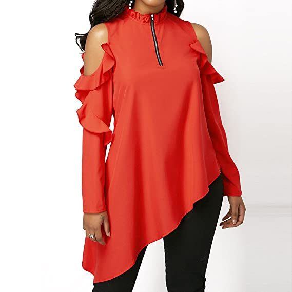 Birdfly Sexy Bare Ruffles Sleeved Asymmetrical Zipper Blouse Tops in Red for Women at Amazon Womens Clothing store: