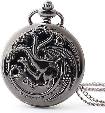 HEMFV Reloj de Bolsillo con Cadena - Juego de Tronos Estuche con Respaldo Liso Bronce Caja Vintage Reloj de Bolsillo de Cuarzo (Color : Black): Amazon.es: Hogar