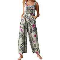 Axupico Women Boho Overalls Summer Floral Loose Suspender Trousers Jumpsuits Wide Leg Pants Romper with Pockets