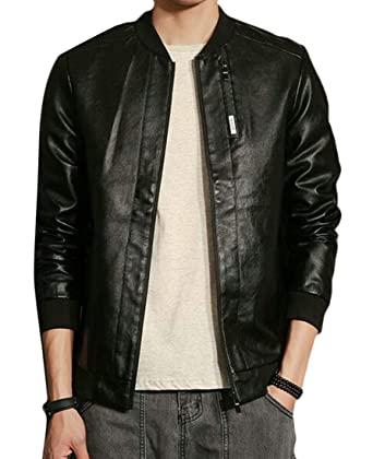 0cc696fefa6 BYWX Men Slim Fit Zip up Plus Size Smooth Lamb Faux Leather Unfilled Bomber  Jacket Black