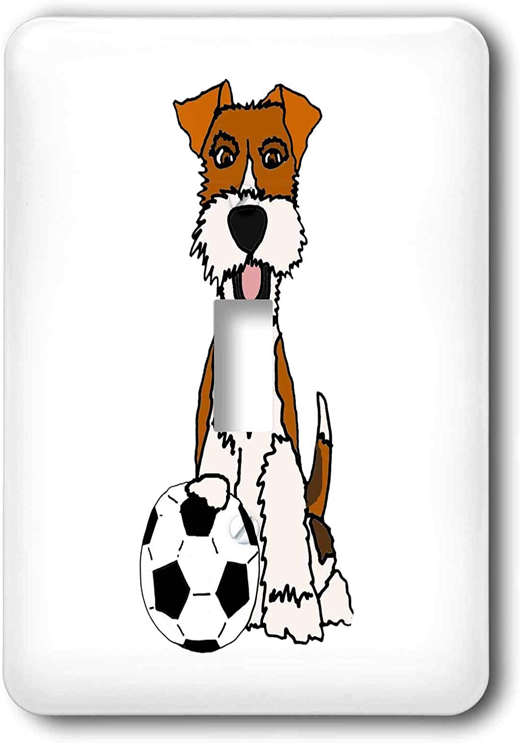 3drose All Smiles Art Pets Cool Funny Wire Fox Terrier Puppy Dog Playing Soccer Cartoon Single Toggle Switch Lsp 307679 1