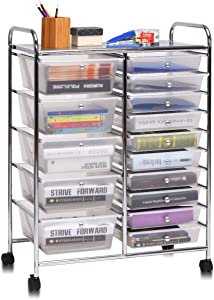 Giantex 15 Drawer Rolling Storage Cart Tools Scrapbook Paper Office School Organizer, Clear