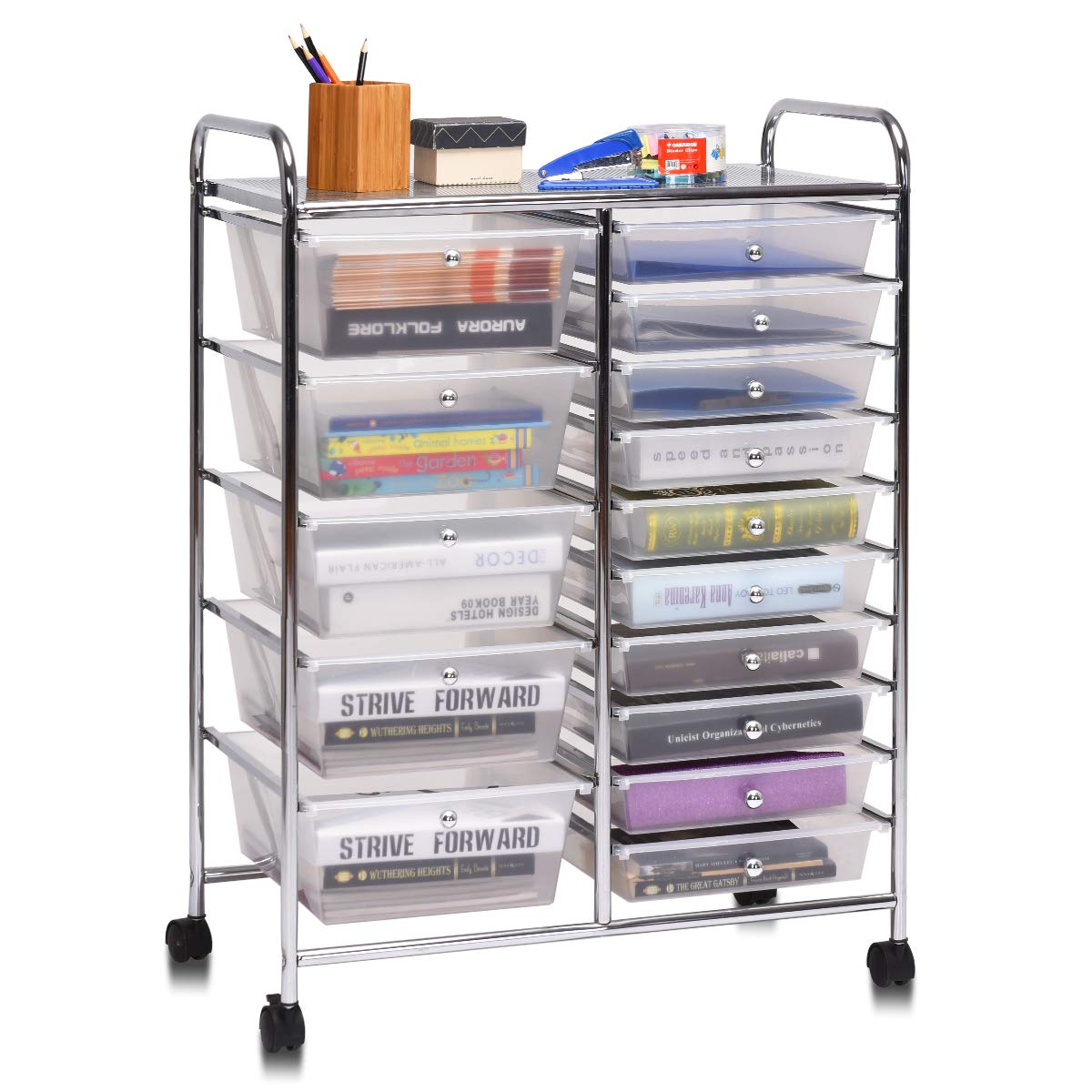 Giantex 15 Drawer Rolling Storage Cart Tools Scrapbook Paper Office School Organizer, Clear by Giantex