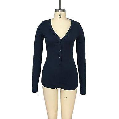 c8dbf2e84c96 Prettyever Fashion Jumpsuit Romper Bodycon Bandage Playsuit Women s Slim  Short Cotton Knitted Long Sleeve V-