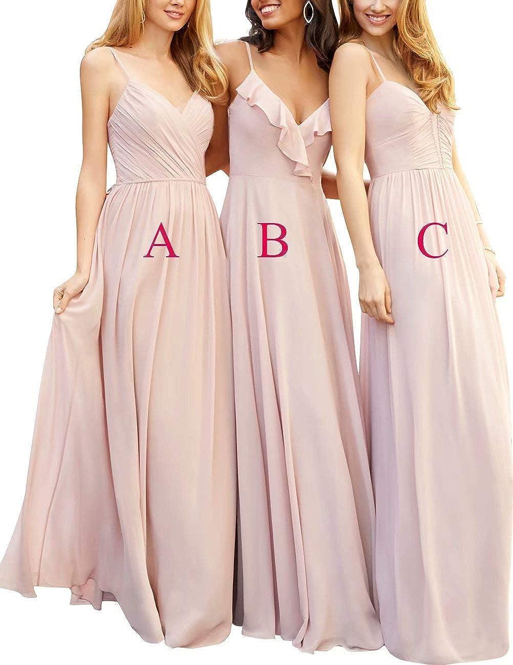NaXY Womens Chiffon Long Formal Wedding Bridesmaid Dresses Plus Size Burgundy