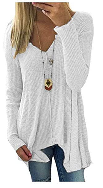 Fliegend Jersey Mujer Cuello V Suéter Camisa de Punto Tops Irregulares  Sólidos para Primavera Otoño Invierno  Amazon.es  Ropa y accesorios 0198784bbf6d