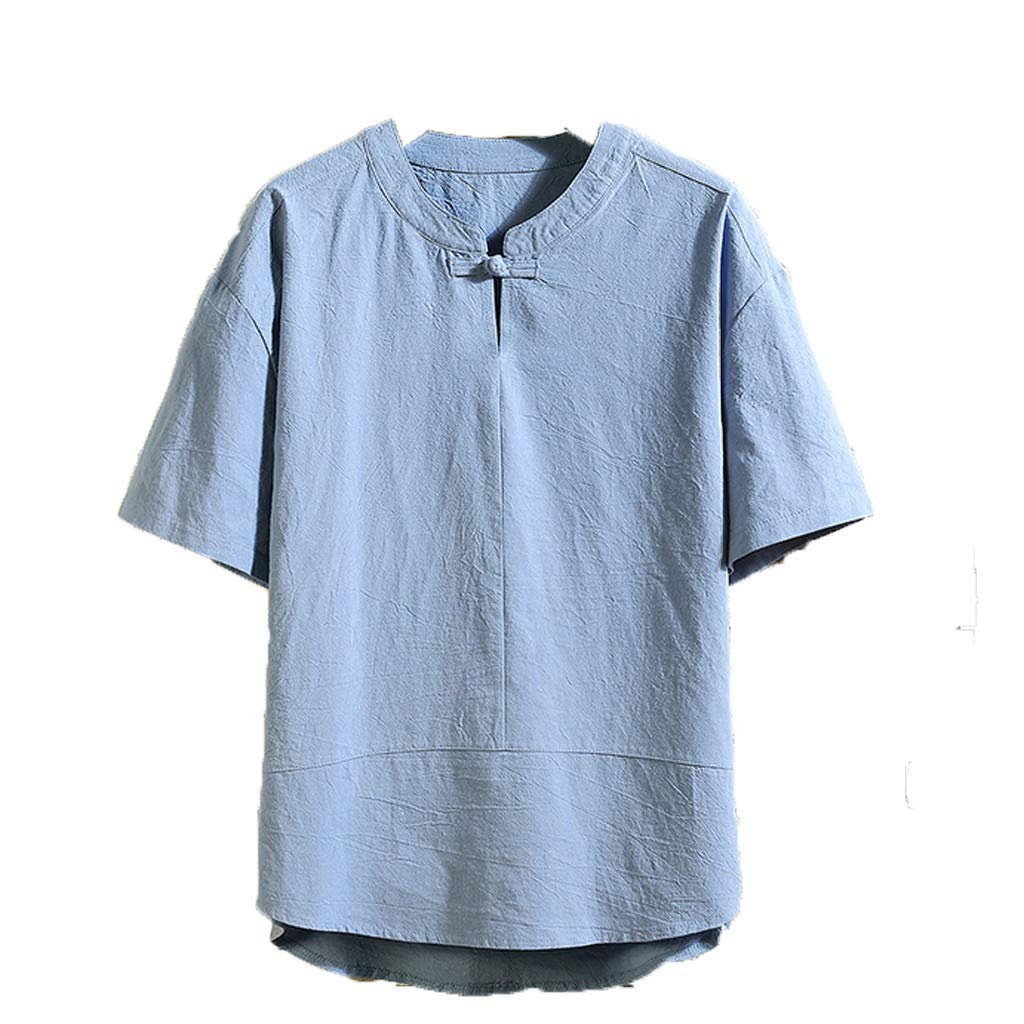 Big Promotion!Forthery Mens T Shirt, Summer Flax Five-Sleeve Loose Short Sleeves Fashion Comfortable Blouse Tops(Blue,US Size 2XL = Tag 3XL)