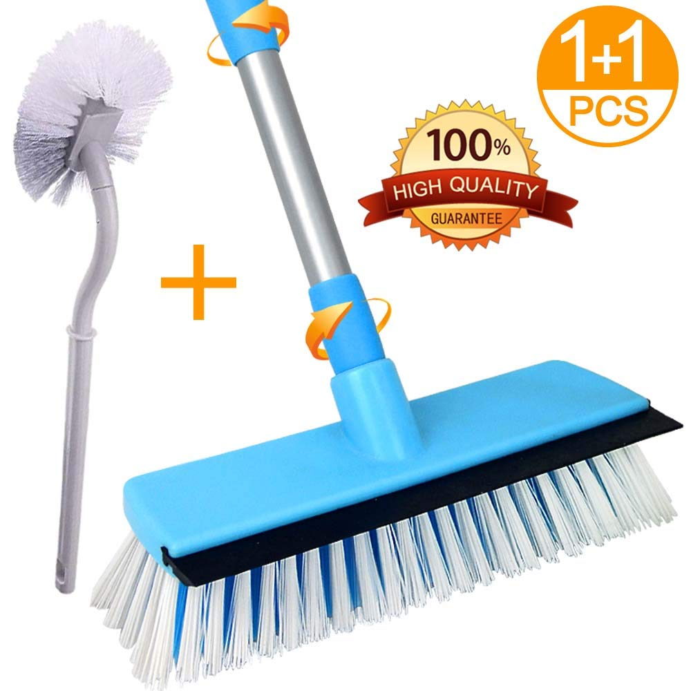 Lostcat floor scrub brush with long handle (30 to 50'',stainess steel with plastic layer to protect the pole) Stiff Bristle Deck Brush for Cleaning Tile, Bathroom, Garage(add 1 toilet brush)