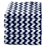 Babydoll Bedding 6 Piece Soft and cozy Toddler Sheets Fitted Daycare Crib, Chevron/Navy