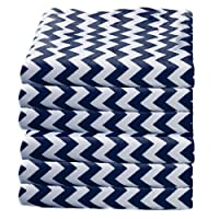 bkb Daycare 6 Piece Chevron Flat Crib and Toddler Sheets, Navy