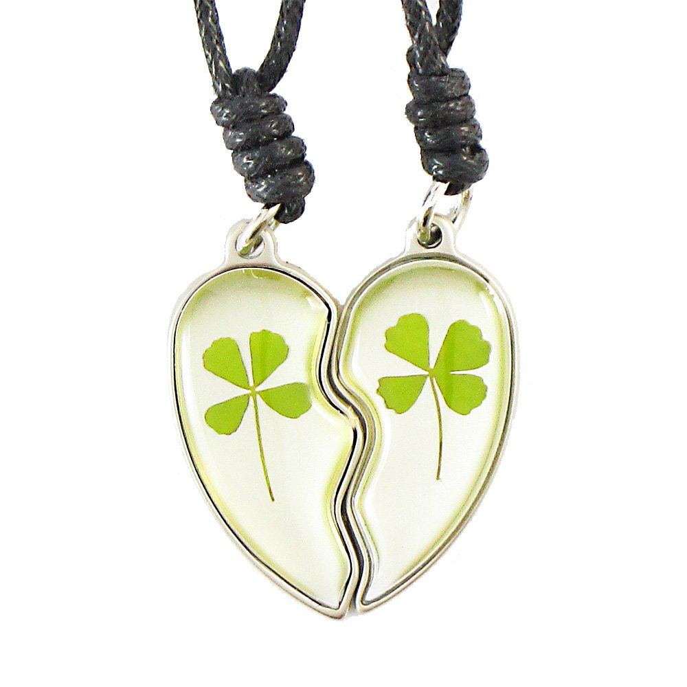 Genuine Four-leaf Lucky Clover Crystal Amber Necklace, Valentine's Share Heart, Two Necklaces Share One Heart, for True Love ! (Adjustable Black Rope Edition)