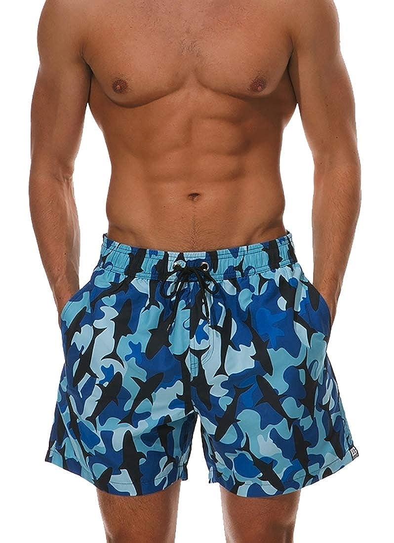 M/&S/&W Mens Fashion Swimming Cool Dry Elastic Waistband Print Pattern Beach Shorts