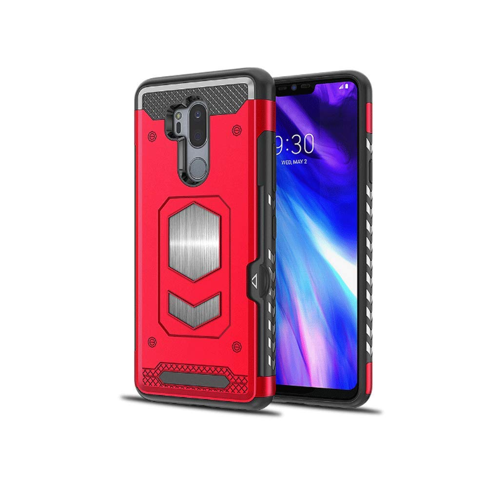 LG G7 ThinQ Case, iKuboo Protective Wallet Case TPU+pc Back Cover case with Card Holder for LG G7 ThinQ-Red