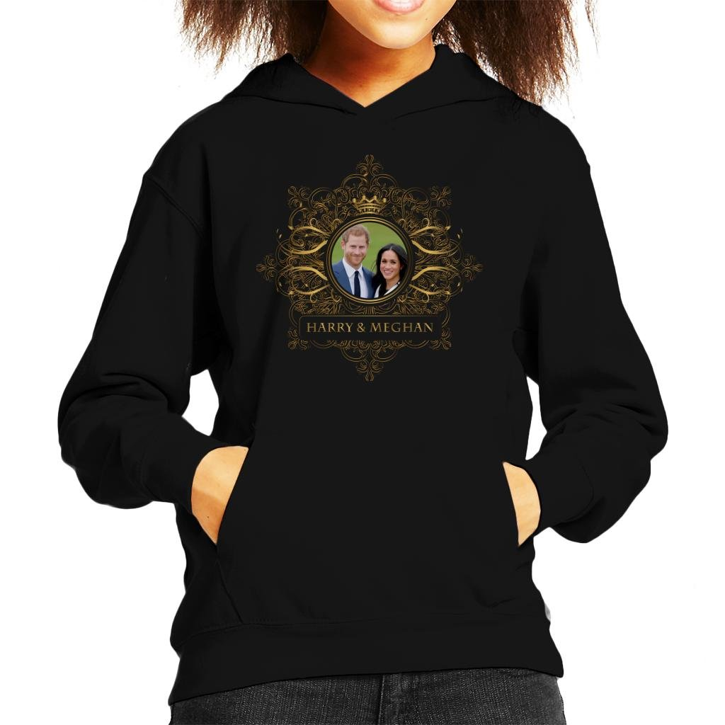Coto7 Golden Star Frame Harry and Meghan Royal Wedding Kid's Hooded Sweatshirt