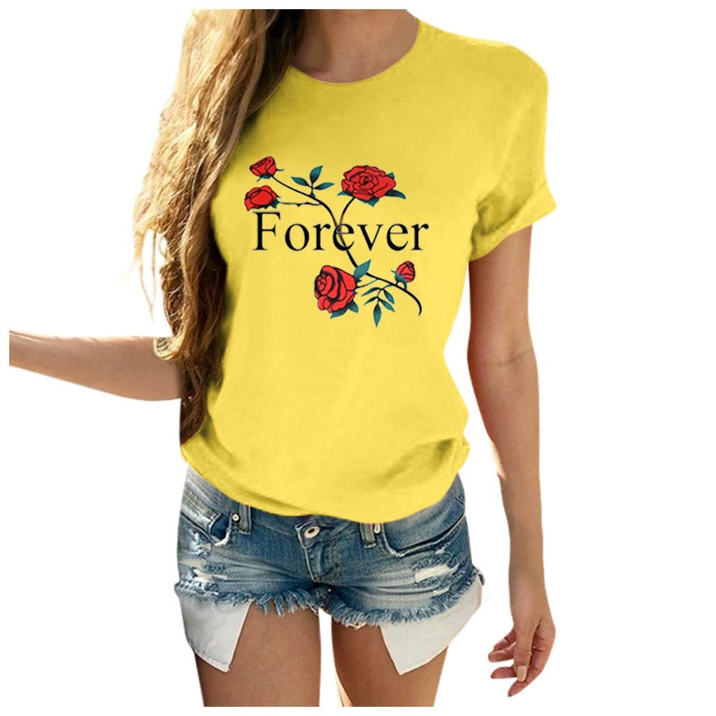 ZOMUSAR Fashion Women Rose Printed Short Sleeve T Shirts Causal Blouses Tops Forever Letter Shirt