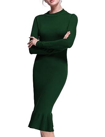 59735b546a Firpearl Women s Crew Neck Ruffle Hem Midi Long Bodycon Sweater Dress