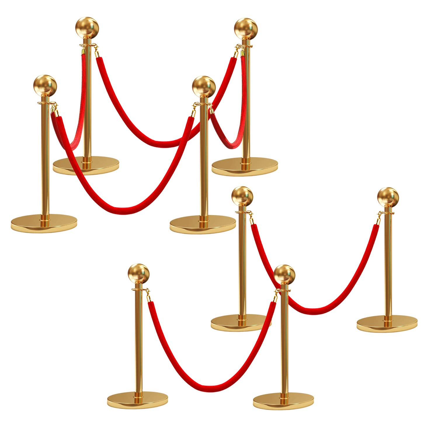 2 Pcs Barrier Ropes with Gold Plated Stainless Steel Snap Hooks 4.9ft Red Flannel Twisted Post Rope for Queue Divider Crowd Control of Hotel Celebration