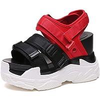 Zapatos de Sandalias Ligeras Casuales para Mujer de Damas Velcro Tacón Alto Playa de Verano Punta Abierta Zapatos de Plataforma Sandalias Deportivas Sandalias de Chanclas de Pu para Mujer, Yue WenMi