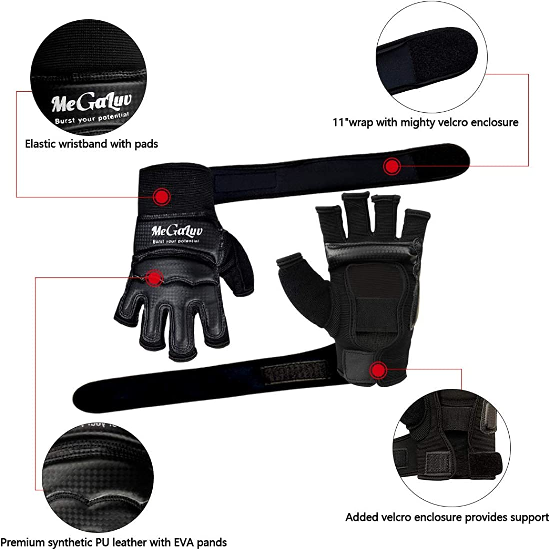 3X SPORTS Wrist Wrap Weight Lifting Boxing Gym Strap Grip Gloves punch 2.5 M 4.5