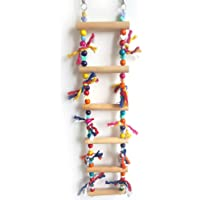 Sanwooden Funny Parrot Toy Colorful Parrot Pet Bird Wood Swing Ladder Climbing Biting Toy Cage Decoration Pet Supplies