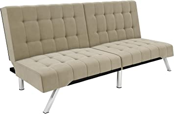 Amazon.com: DHP Emily Futon Couch Bed, Tela: Kitchen & Dining