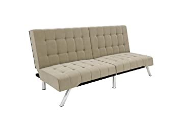 DHP Emily Futon Sofa Bed, Modern Convertible Couch with Chrome Legs Quickly  Converts into a Bed, Rich Tan Velvet