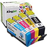 Kingjet 902XL Color & 902L Black Ink Cartridges 4 Pack High Yield Remanufactured Replacements for OfficeJet Pro 6954 6960 6962 6968 6975 6978 Printer (1Black 1Cyan 1Magenta 1Yellow)