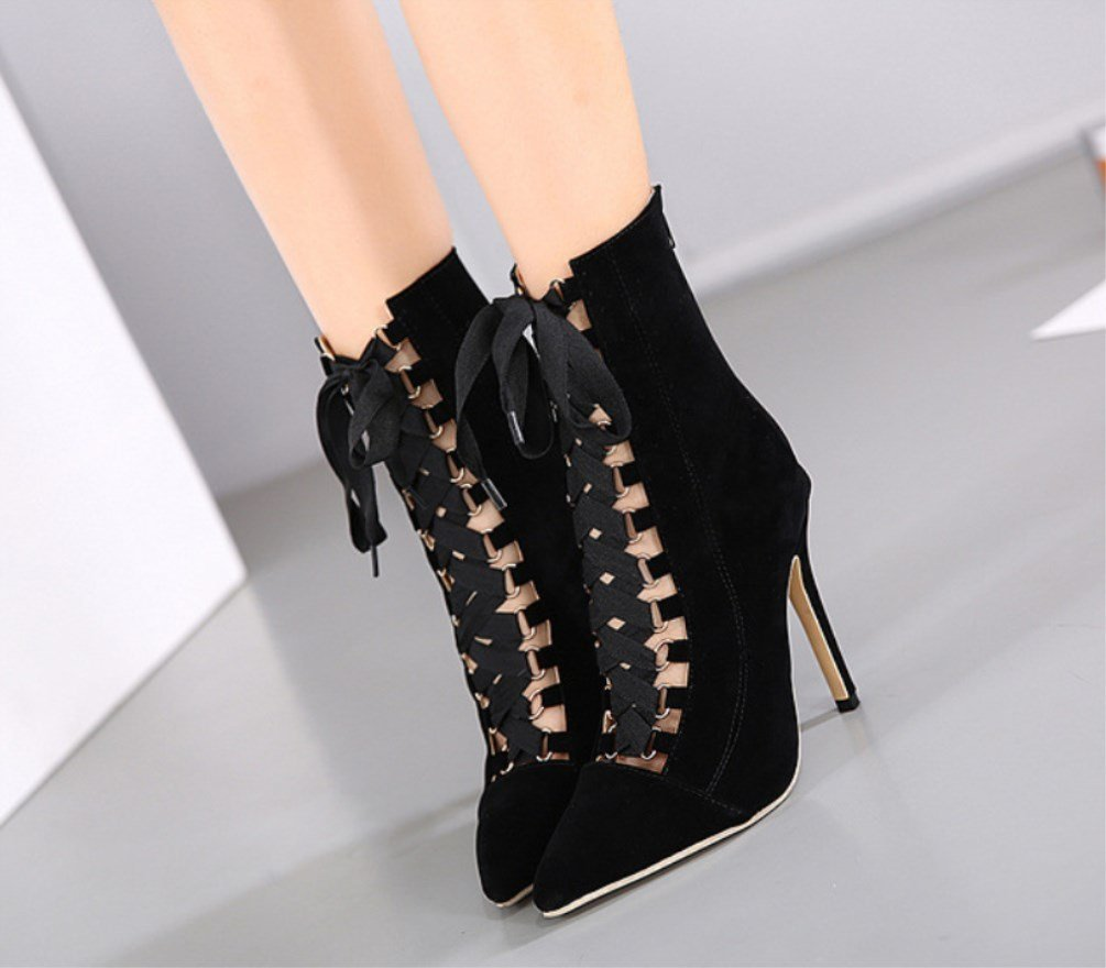 Ladies with Fine with Ladies Super High Heel-Fashionable Pointed Sandals-Pure Color Pierced Bandage Sexy Singles Shoes-Comfort Heel Shoes Zhhzz (Color : Black, Size : 39) B07G2PWK3T 39|Black 2aff4a