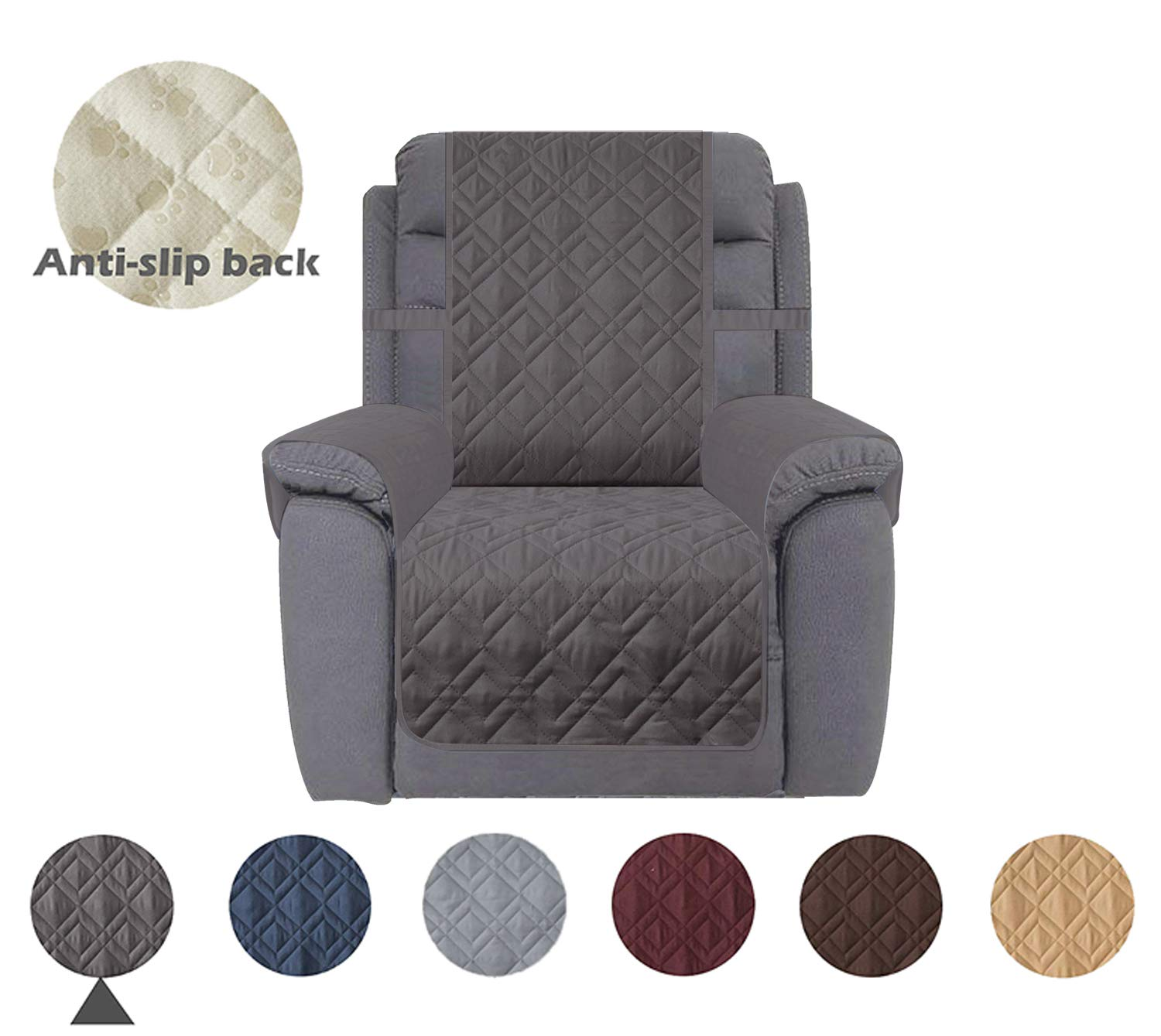 Ameritex Recliner Chair Cover with Anti-Skip Dog Paw Print 100% Waterproof Keep Your Couch Stain, Dirt & Scratches-Free (Pattern1:Dark Grey, Recliner)