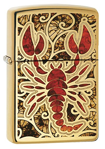 - Zippo Crustacean Design Pocket Lighter, High Polish Brass