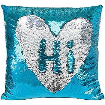 Pillowcase | IdealHouse Reversible Sequins Mermaid Magic Double Color Pattern Changing Stylish Glitter Pillow Cover for Home Sofa Throw Cushion Decorative (Silver Blue)
