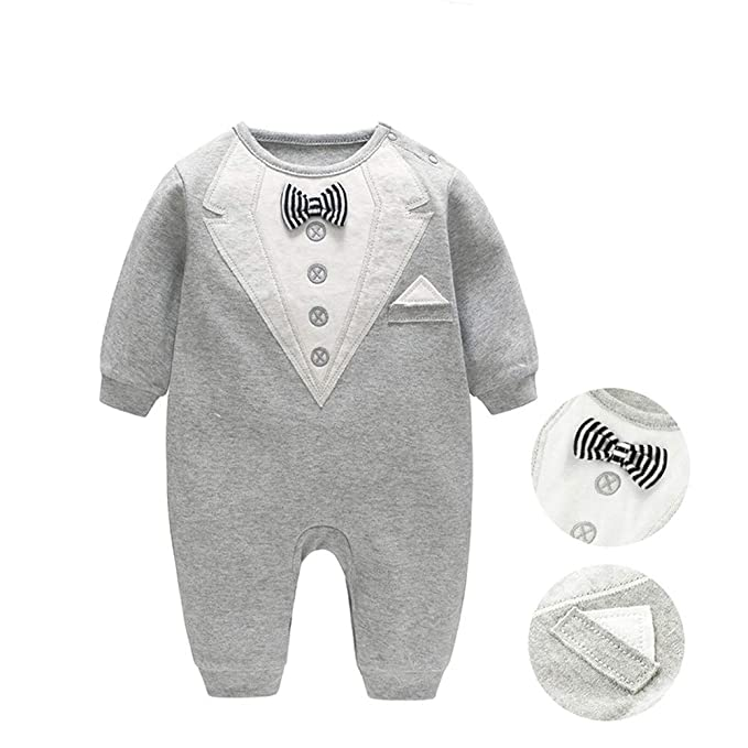 2134d63c65fe Amazon.com  JooNeng Baby Newborn Boy Cotton Romper Bow Tie Jumpsuit ...
