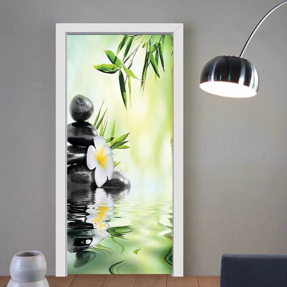 Gzhihine custom made 3d door stickers Spa Decor Garden with Frangipani and Bamboo Japanese Relaxation Luxury Travel For Room Decor 30x79