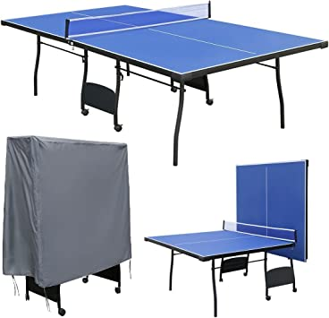 hj Mesa de Ping Pong, Profesional Plegable y Movible con 9 Pies ...
