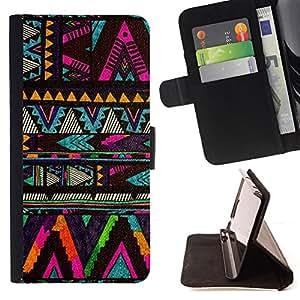 BullDog Case - FOR/HTC Desire 820 / - / chevron native American pattern black /- Monedero de cuero de la PU Llevar cubierta de la caja con el ID Credit Card Slots Flip funda de cuer