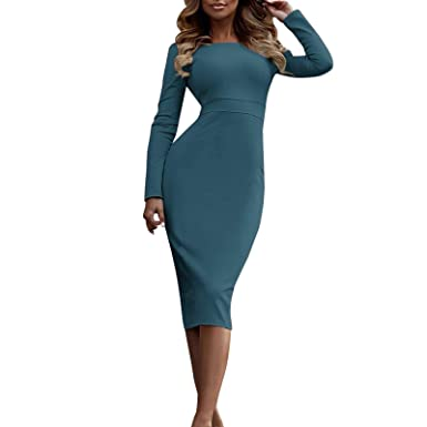 ad20e9b45b SMOOX Women Fashion Plus Size Long Sleeve Turtleneck Solid Pencil Dress (S