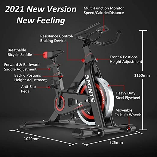 Water Bottle Holder 2020 Upgraded Version Studio Commercial Quality LCD Monitor Pulse Sensor Heavy Duty Home Gym Stationary Bike 35 LBS Flywheel Weight Dripex Indoor Cycling Magnetic Resistance Exercise Bike Weight Capacity 330 LBS