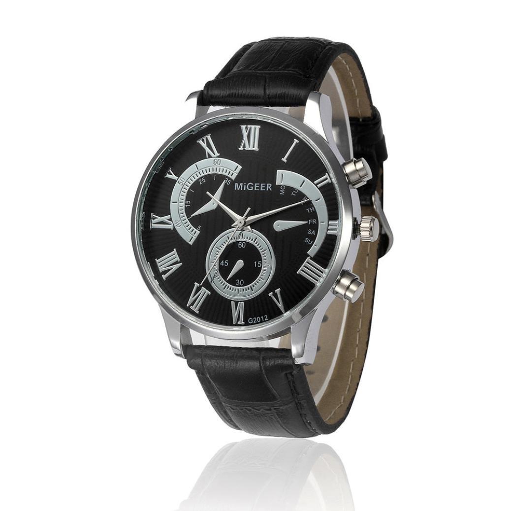Pocciol Men's Cool Retro Design Leather Strap Quartz Alloy Analog Wristwatch Clock (Black)