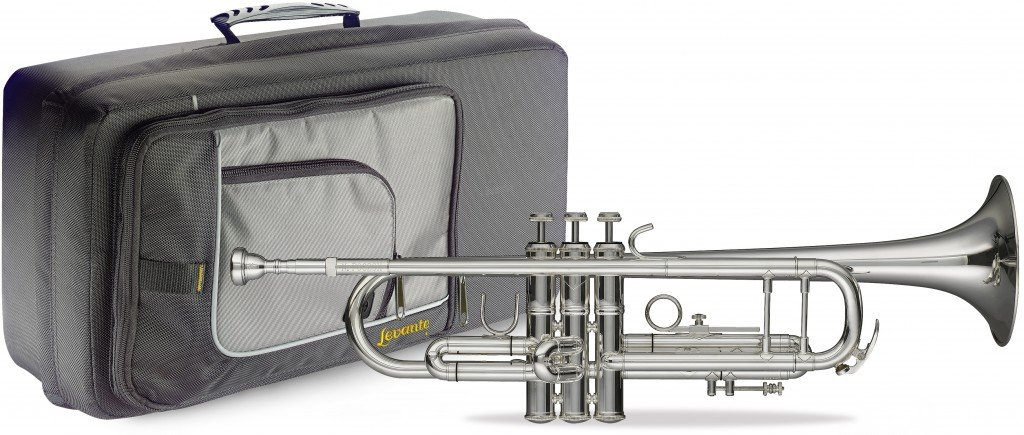 Levante LV-TR6301 Bb Professional Trumpet with Soft Case - Silver plated body by Levante