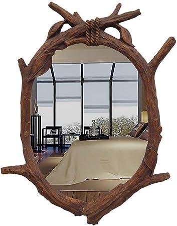ZXRJZ Espejo de baño Extranjero Europeo Retro Colgante de Pared Vestidor Entrada Espejo Americano Antiguo Inodoro Decoración de Belleza Lavado a Prueba de Agua Espejo de Maquillaje: Amazon.es: Hogar