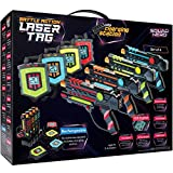 Rechargeable Laser Tag Set + Innovative LCDs and Sync - Pack of 4 Infrared Guns & Vests - Group Toys & Games for Kids, Teens, Teenage Boys & Girls - Great Fun Gifts for Ages 8+ Best Cool Presents X