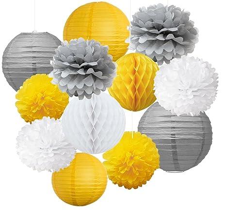 12 Pompons Fleurs Et Lanternes Vintage En Papier Jaune Gris Et Blanc A Suspendre Pour Mariage Anniversaire Fete De Bapteme De Garcon Decoration