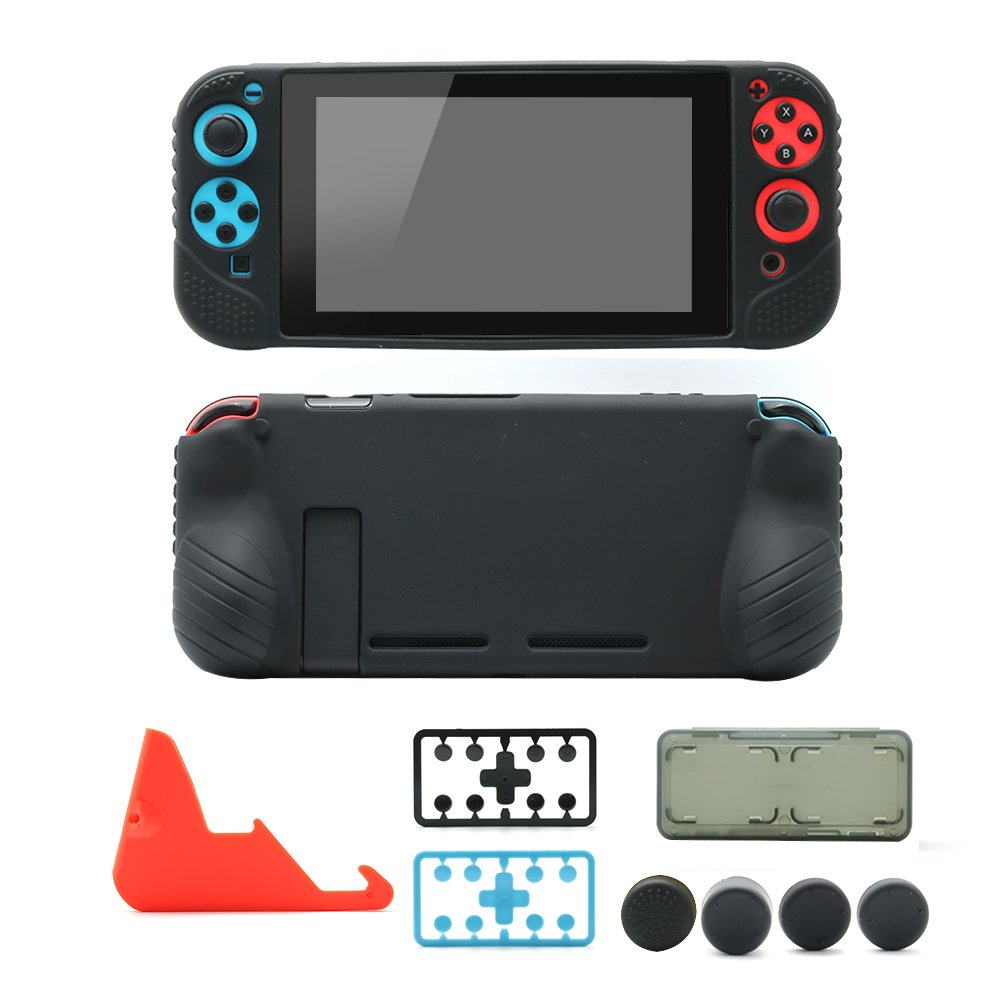 Nintendo Switch Starter Kit: Grip Case Cover Skin for Switch Console & Joy Con, Charging Stand, Silicone Thumb Grips, Plastic Button Caps, Card Box, 5 in 1 Accessories Bundle for Switch (Red Stand)