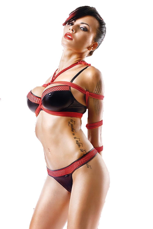 Schwarze rotes Damen Dessous wetlook Gogo-Set mit Bügel-BH - Slip und 2 Seile Reizwäsche Set