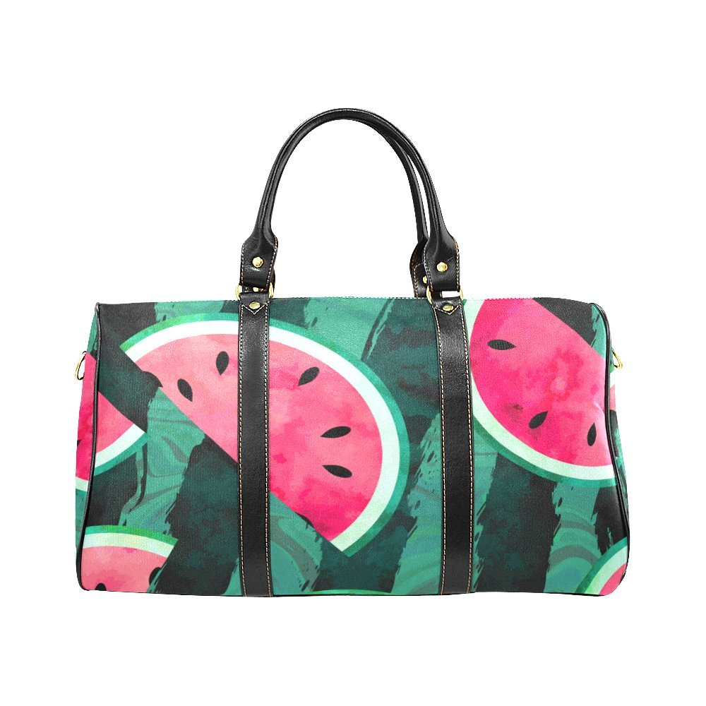 Red Summer Watermelon Small Travel Duffel Bag Waterproof Weekend Bag with Strap